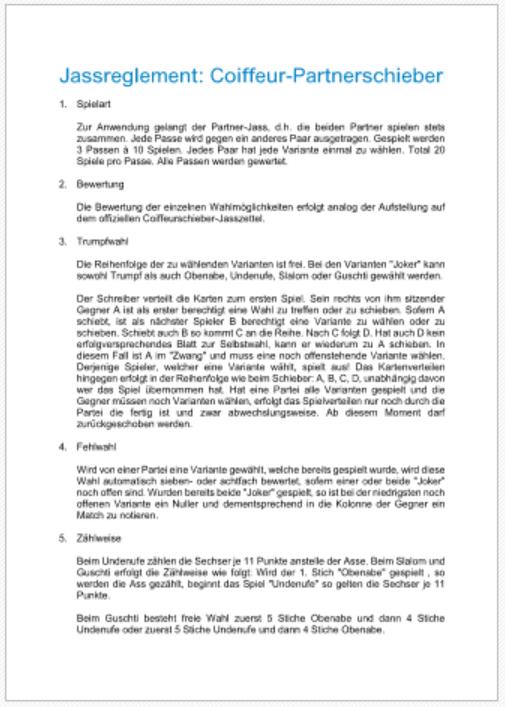 Jassreglement Coiffeur-Partnerschieber